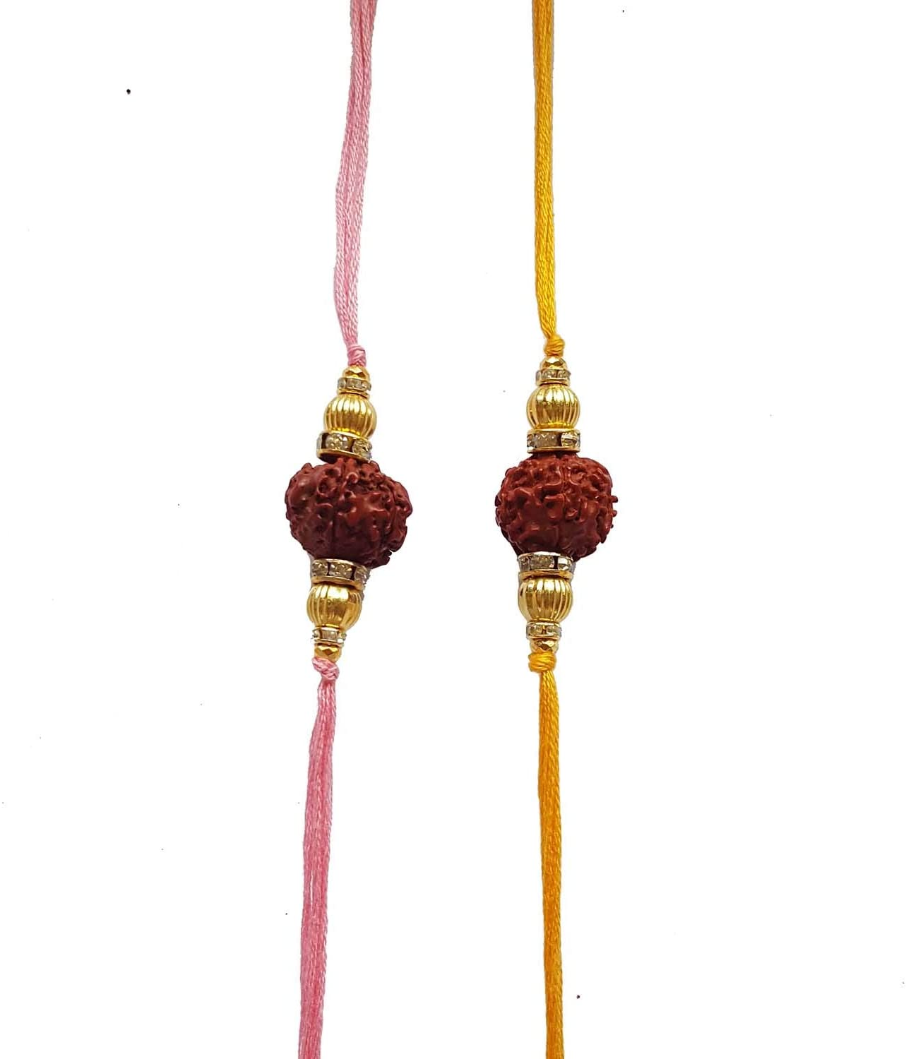Jaipri, 2 Pcs Baby Pink Yellow Rudraksha Rakhi Set for Bhaiya, Bhabhi on Indian Rakhi Rakshabandhan Festival, Best Bands for Brother