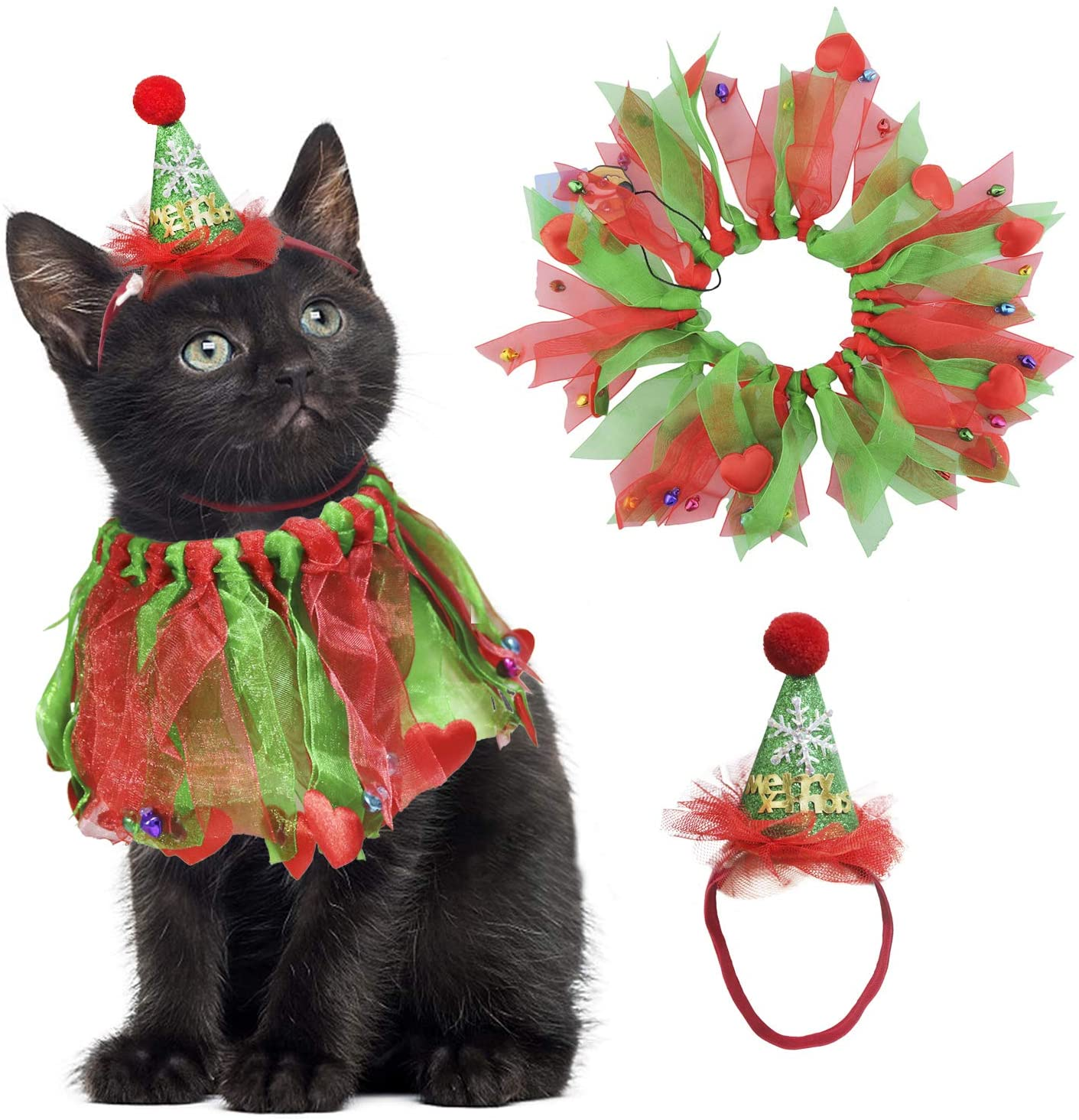 BWOGUE Cat Christmas Costume Cat Christmas Collar with Bells and Merry Christmas Hat for Cats and Small Dogs Puppy