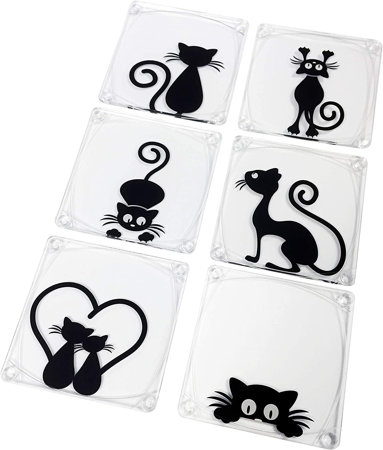 Idea Design Studio Acrylic Coasters with Black Cats Design with Clear Acrylic Holder (Set of 6)