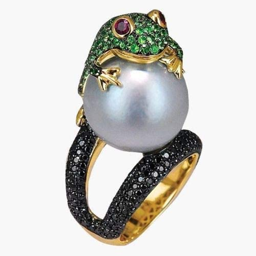 The Sun Jewelry Size Animal Silver Filled Frog Ring 6-10 Freshwater 925 Gold Vintage Pearl (8)