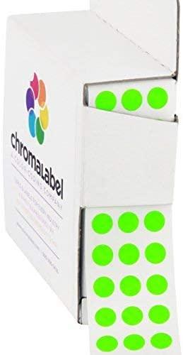 ChromaLabel 1/4 Inch Round Permanent Color-Code Dot Stickers, 1000 per Dispenser Box, Fluorescent Green