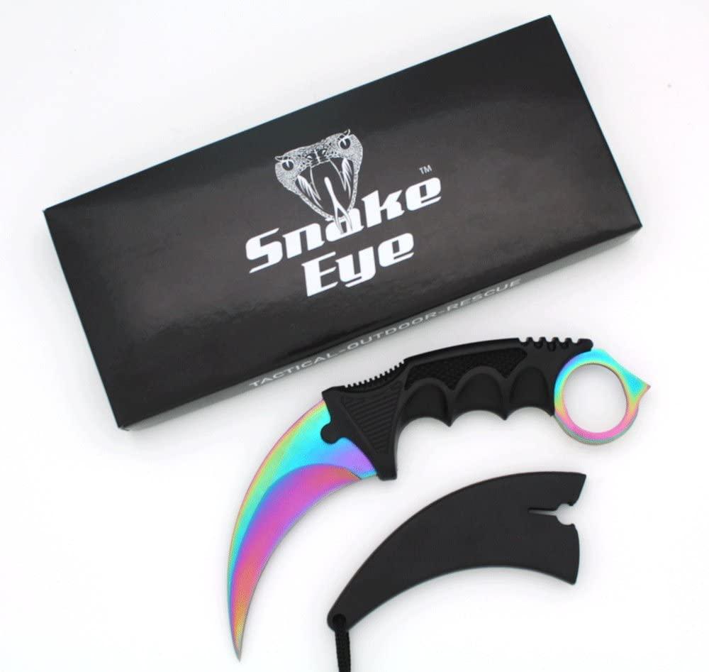 Snake Eye Tactical Karambit Style Full Tang Neck Knife Outdoors Camping Fishing Hunting