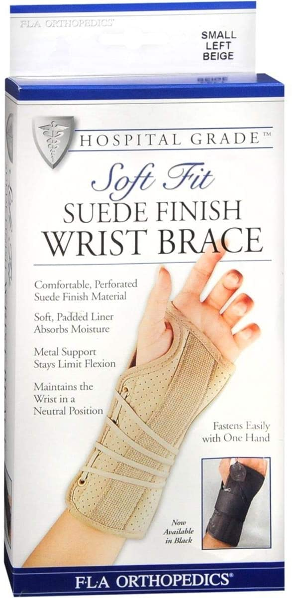 Florida Orthopedics Soft Fit Suede Finish Wrist Brace Beige Small Left # 22-1...