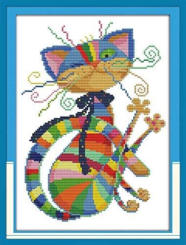 Joyautum Colorful cat Cartoon Animals Counted Cross Stitch kit 14ct 11ct Printed Fabric Embroidery DIY Needlework (14ct Blank Fabric)