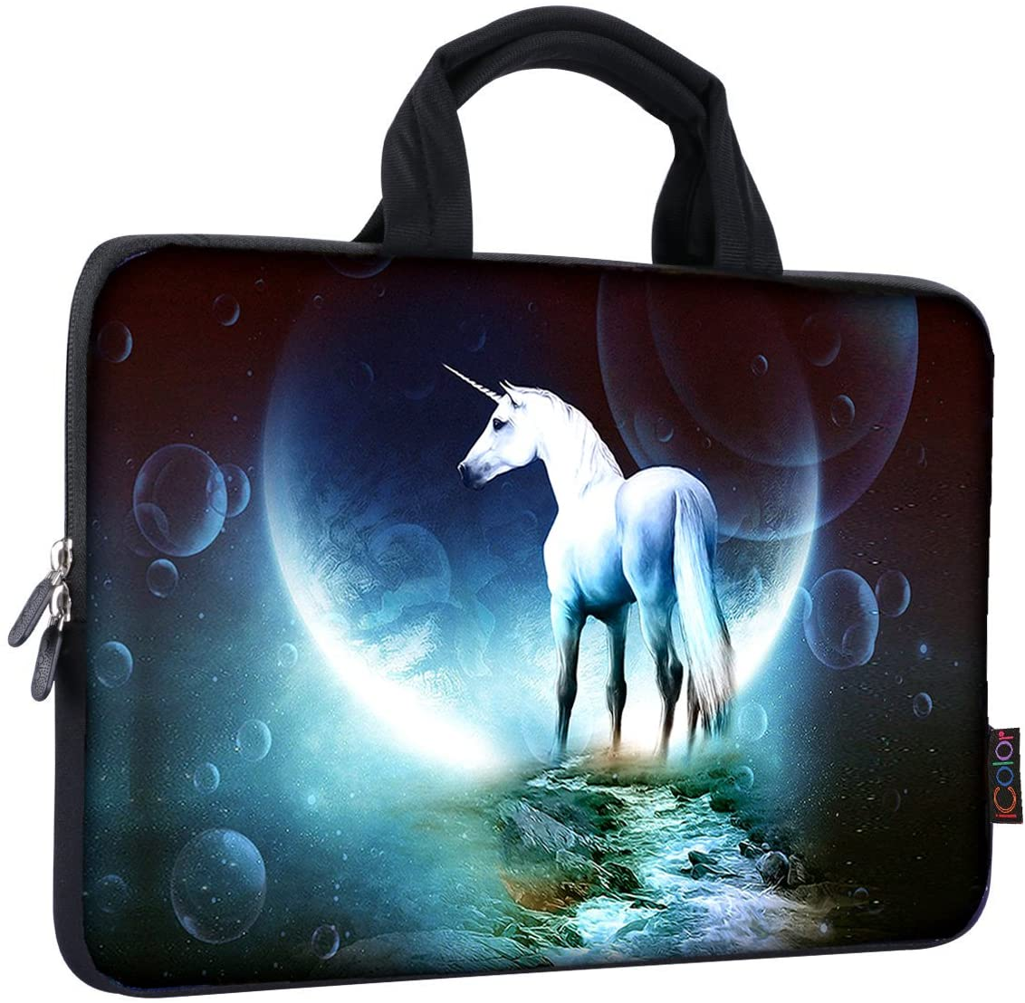 iColor 14 15 15.4 15.6 inch Laptop Handle Bag Computer Protect Case Pouch Holder Notebook Sleeve Neoprene Cover Soft Carring Travel Case for Dell Lenovo Toshiba HP Chromebook ASUS Acer Unicorn ICB-03