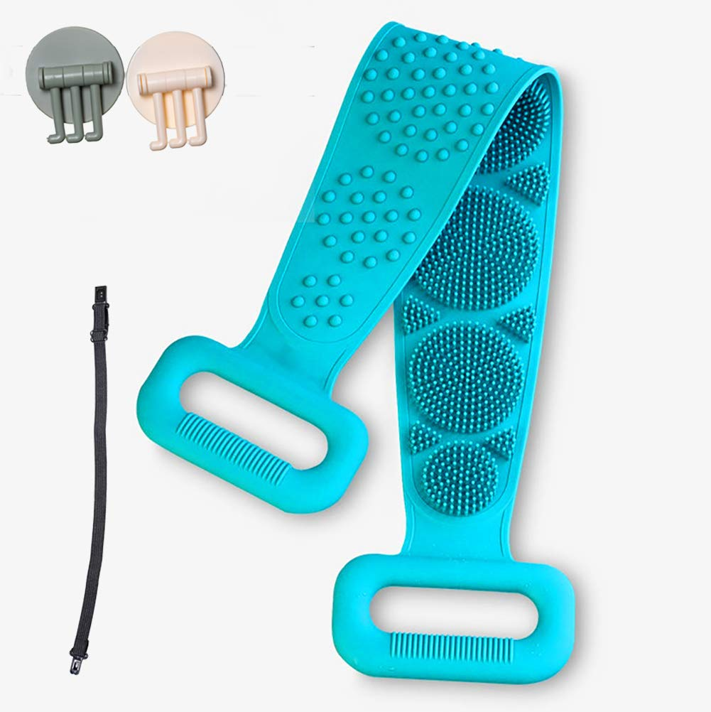 Silicone Bath Body Brush Scrubber, Back Cleaning Shower Strap with Soft Brush Bristles and Massage Dots for Men & Women, Easy to Clean