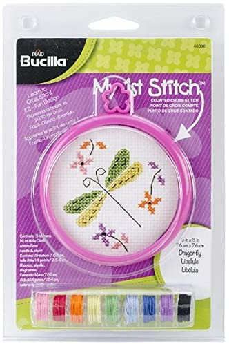 Bucilla 46036 My 1st Stitch 14 Count Dragonfly Mini Counted Cross Stitch Kit, 3-Inch