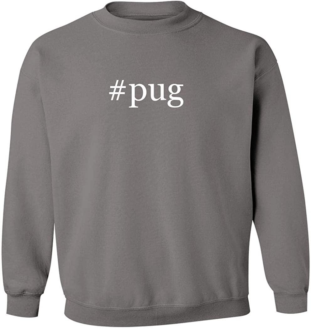 #pug - Men's Hashtag Pullover Crewneck Sweatshirt, Grey, XXX-Large