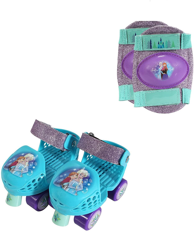 PlayWheels Disney Frozen Kids Glitter Roller Skates with Knee Pads - Childrens Adjustable Skates - Junior Size 6-12