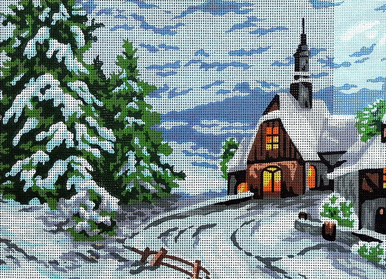 Needlepoint Painted Canvas Cross Stitch Tapestry Kit Gobelin - Landscape. 16x20 By Collection DArt 10330