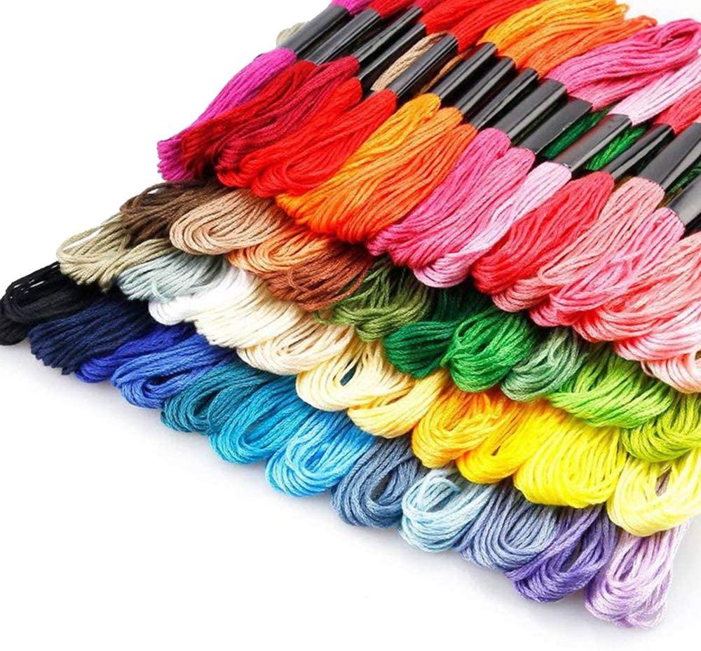 Embroidery Floss 50 Skeins,Premium Rainbow Color Embroidery Floss Thread Cross Stitch Threads, Friendship Bracelets Floss, Crafts Floss, 50 Colors