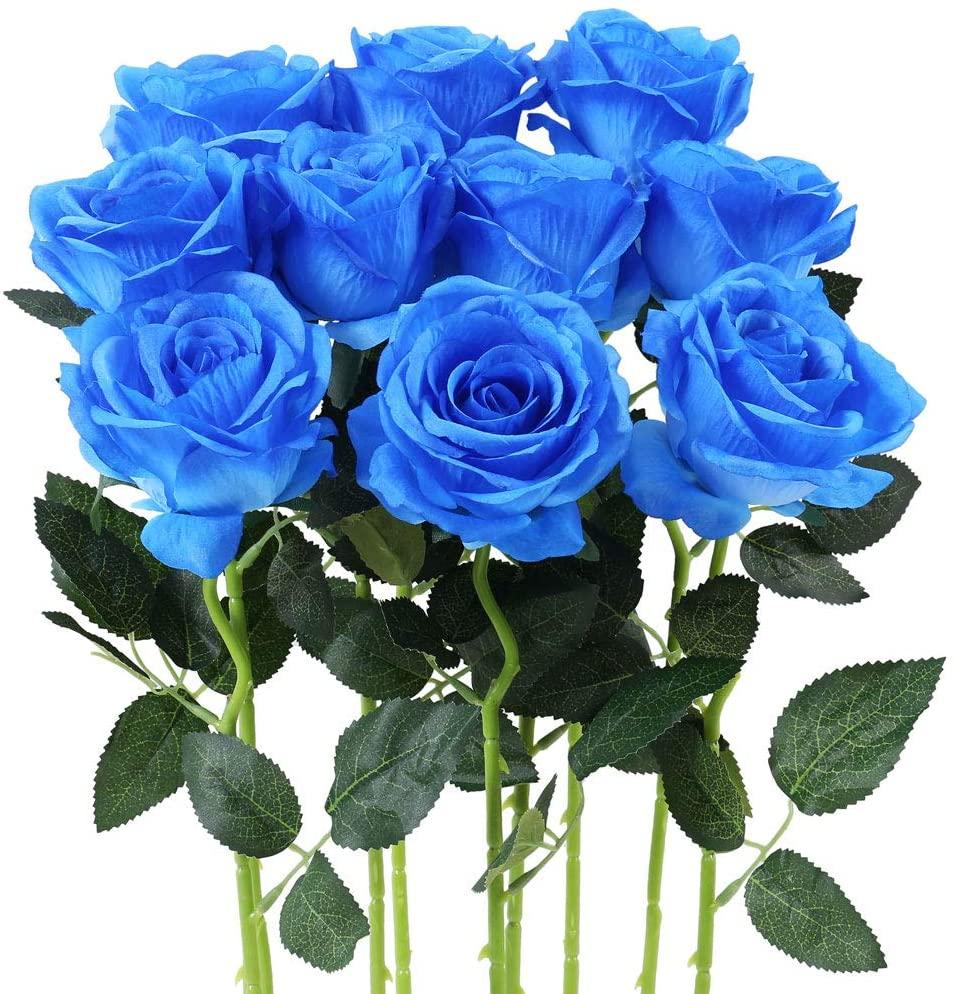 Qiddo Artificial Silk Rose Flower Bouquet Wedding Party Home Decor, Pack of 10-Gradient Burgandy(Blue)