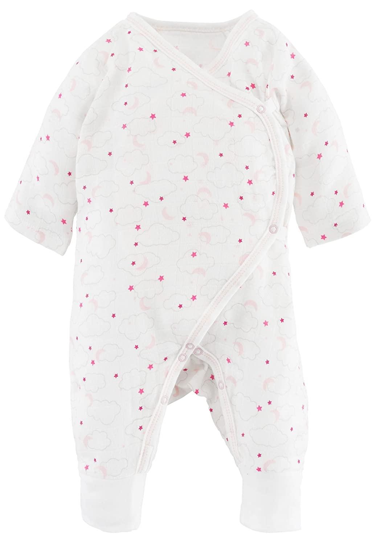 Under the Nile Baby Muslin Side Snap Kimono Organic Cotton (Pink Starry Night Print, Newborn)