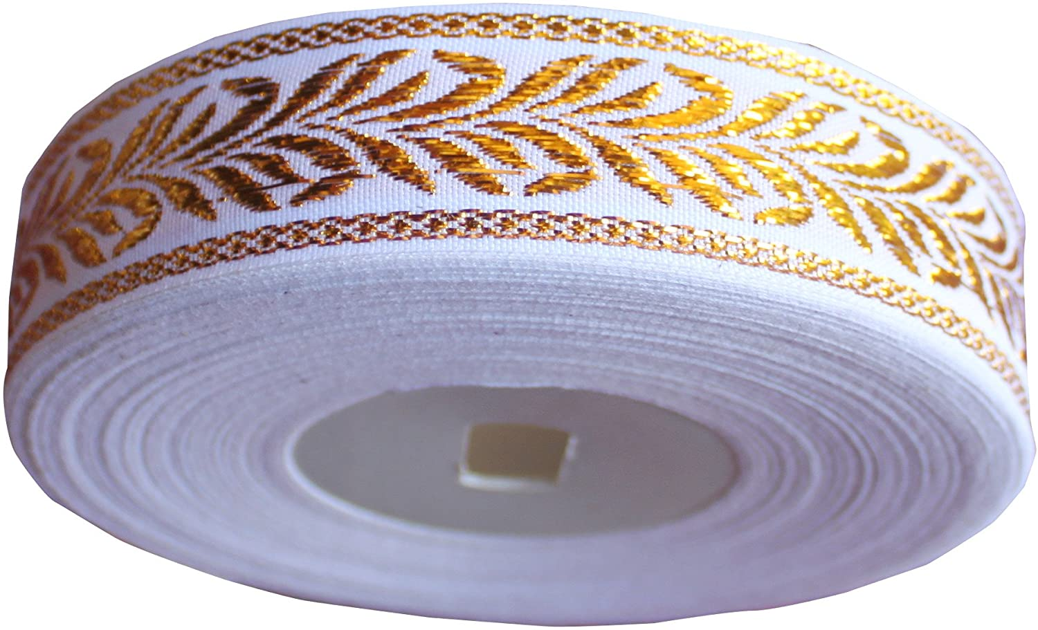 Full Funk Ribbon Roll Poly Silk Thread White with Golden Frond Art