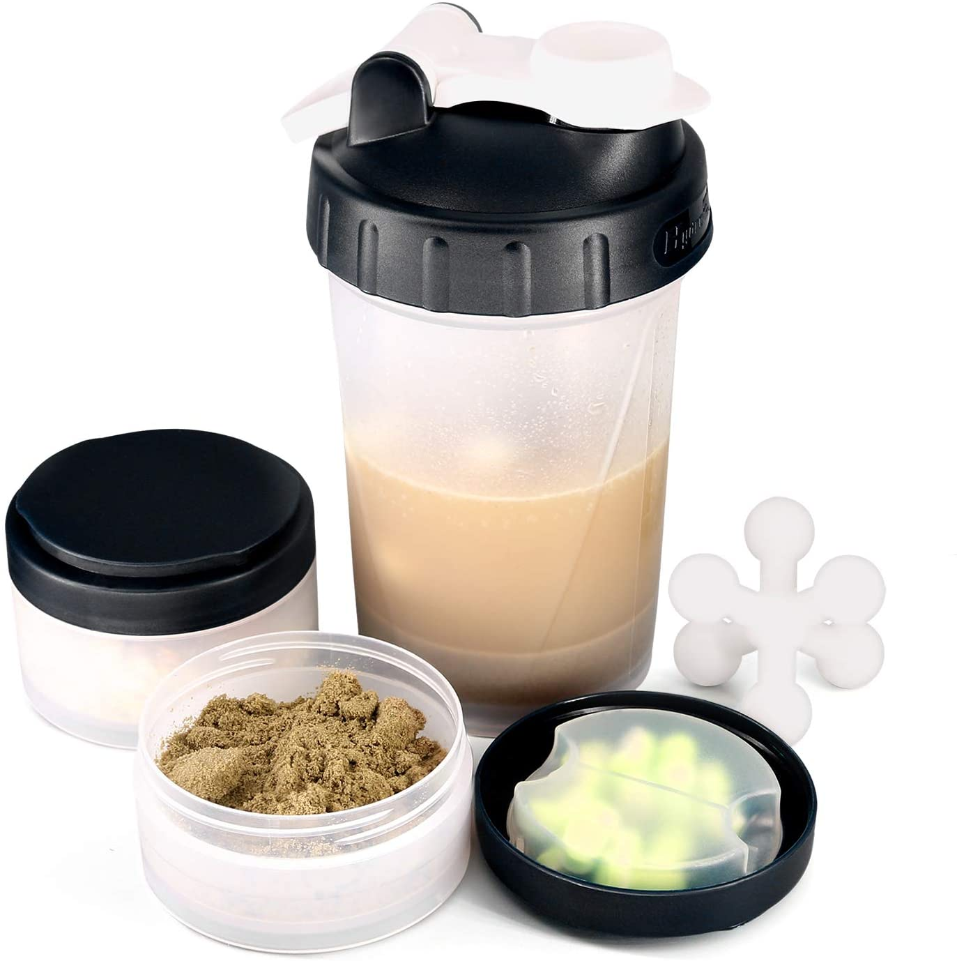 16 OZ Protein Shaker Bottle with Mixer Ball and 2 Interlocking Storage Jars for Pills, Snacks, Coffee, Tea. 100% BPA Free,Non Toxic and Leak Proof Sports Bottle