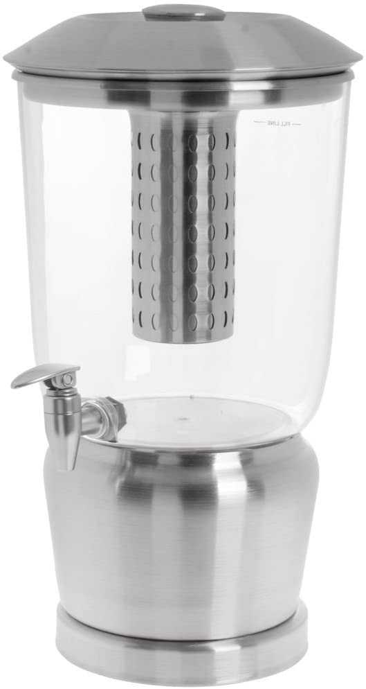 TableCraft Large 5 Gallon Drink Dispenser with Fruit Infuser & Stand   BPA Free   Tritan Stainless Steel   Cold Beverage Dispenser for Catering, Buffet or Home Use