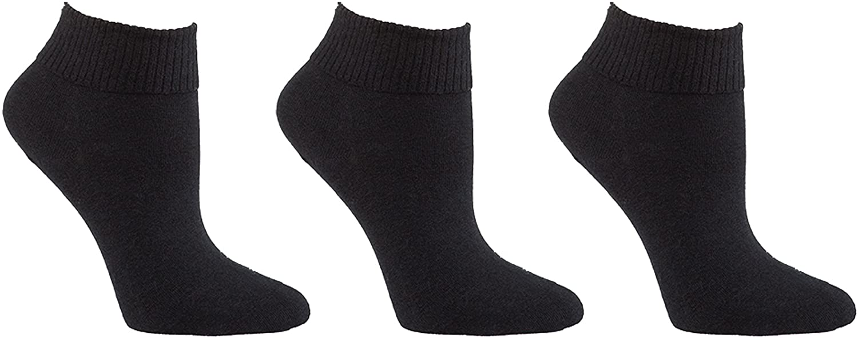Diabetic Socks | Womens Black Ankle 3 Pack | Seamless Toe Size 9-11