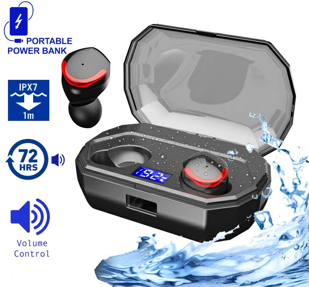 HOSUTEK TWS Bluetooth Wireless Earbuds With Mic Sport Headphones For IPhone, Samsung - True 5.0 Small Mini Earbuds for Running With Charging Case 72 Hours Sweatproof Stereo Best Sound Quality