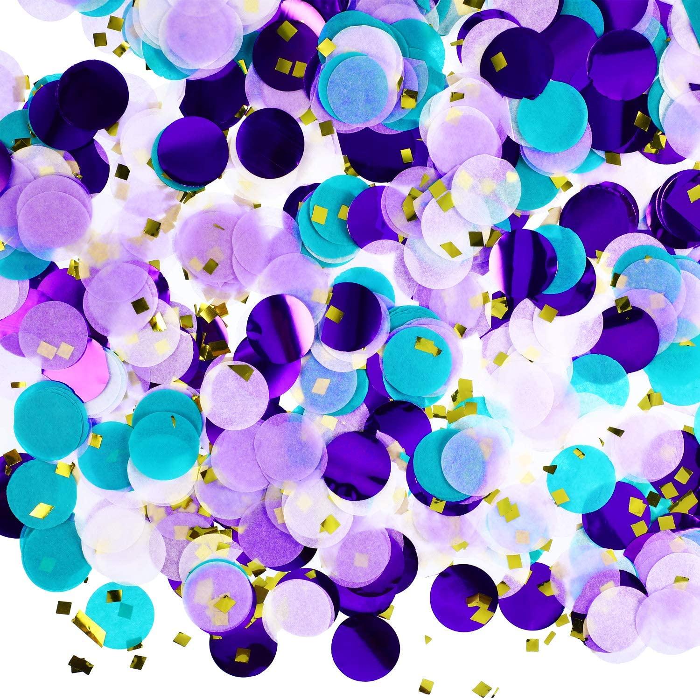 Round Tissue Paper Table Confetti Dots for Mermaid Birthday Party Decoration, 1.76 oz (Purple Teal Confetti, 2.5 cm)