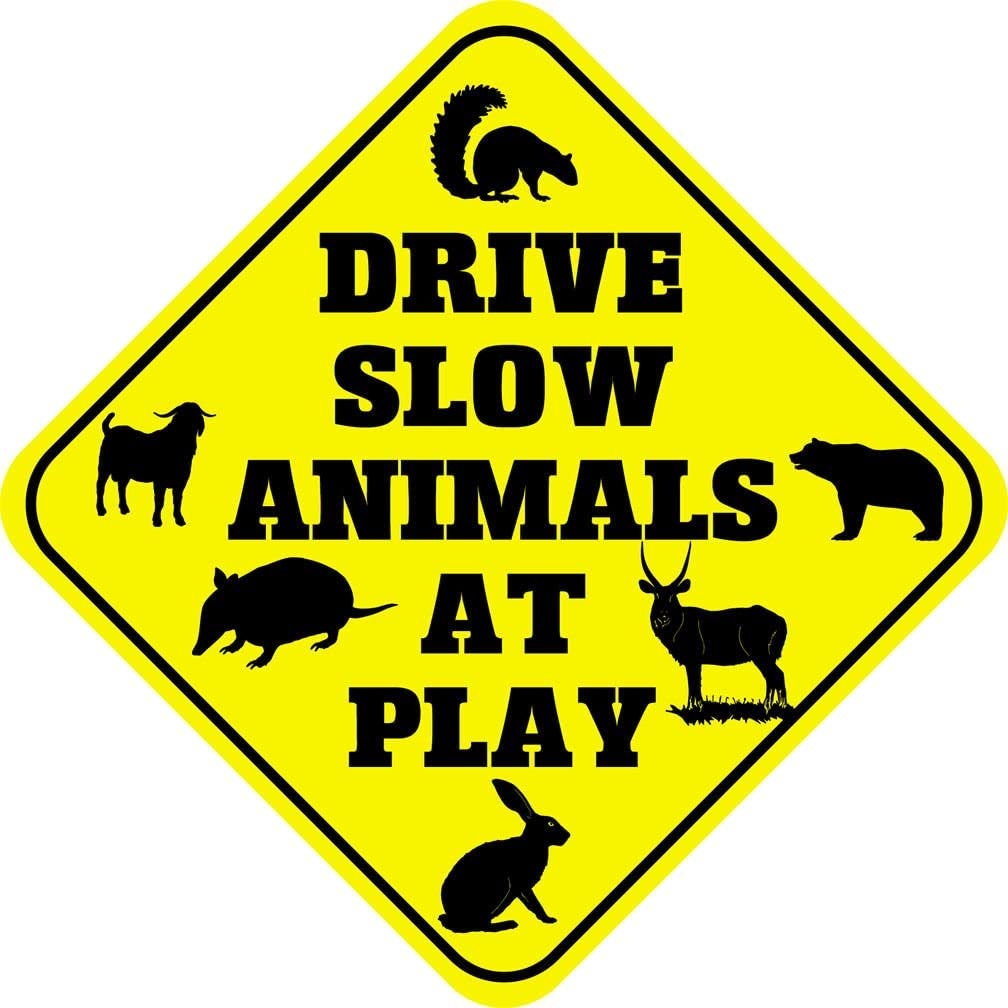 Drive Slow Animals at Play Crossing Funny Novelty SignVinyl Sticker Decal 8