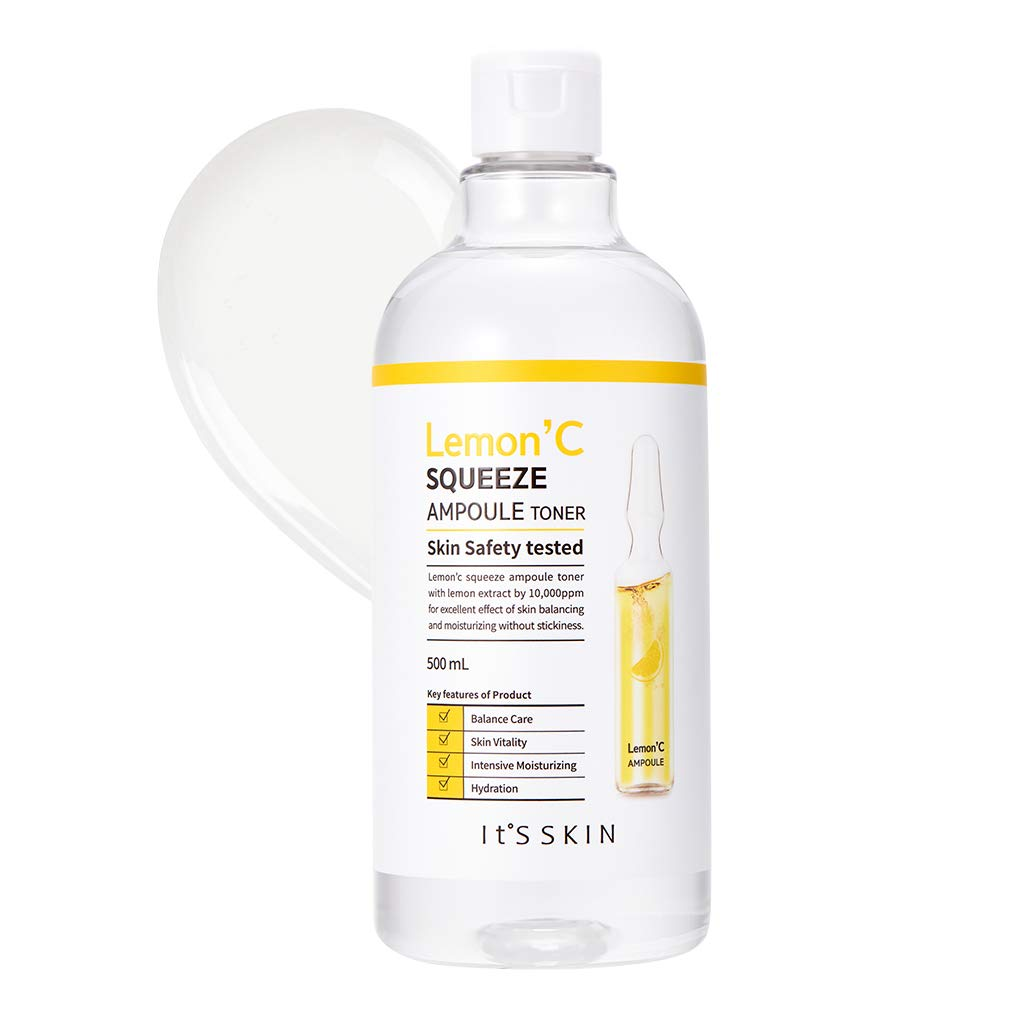 It'S SKIN Lemon'C Squeeze Ampoule Toner 500ml (16.9 fl.oz.) - Lemon Extract & Hyaluronic Acid Contained Dark Spot Clearing and Moisturizing Astringent, AHA Exfoliator, Sebum Control