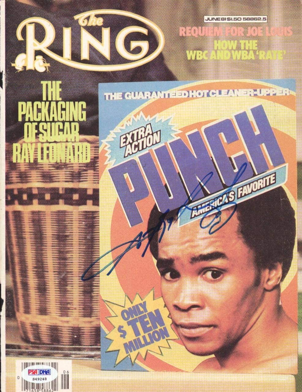 Sugar Ray Leonard Autographed The Ring Magazine Cover PSA/DNA #S49248 - Autographed Boxing Magazines
