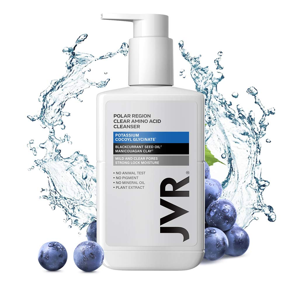 Amino Acid Face Wash, JVR Daily Facial Cleanser with Vitamin E Blackcurrant Moisturizing Nourishing for Normal to Dry Skin, 6.8oz