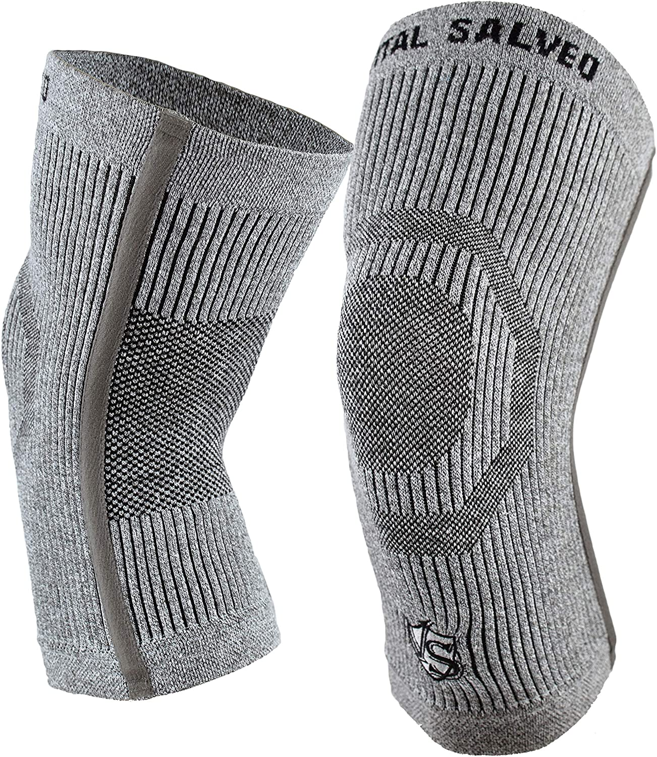 Vital Salveo-Compression Recovery Knee Sleeves/Braces S-Support, Ideal for Sports and Daily Wear, Pain Relief, Protects Joint -Light Grey (1 Pair)- XXXL