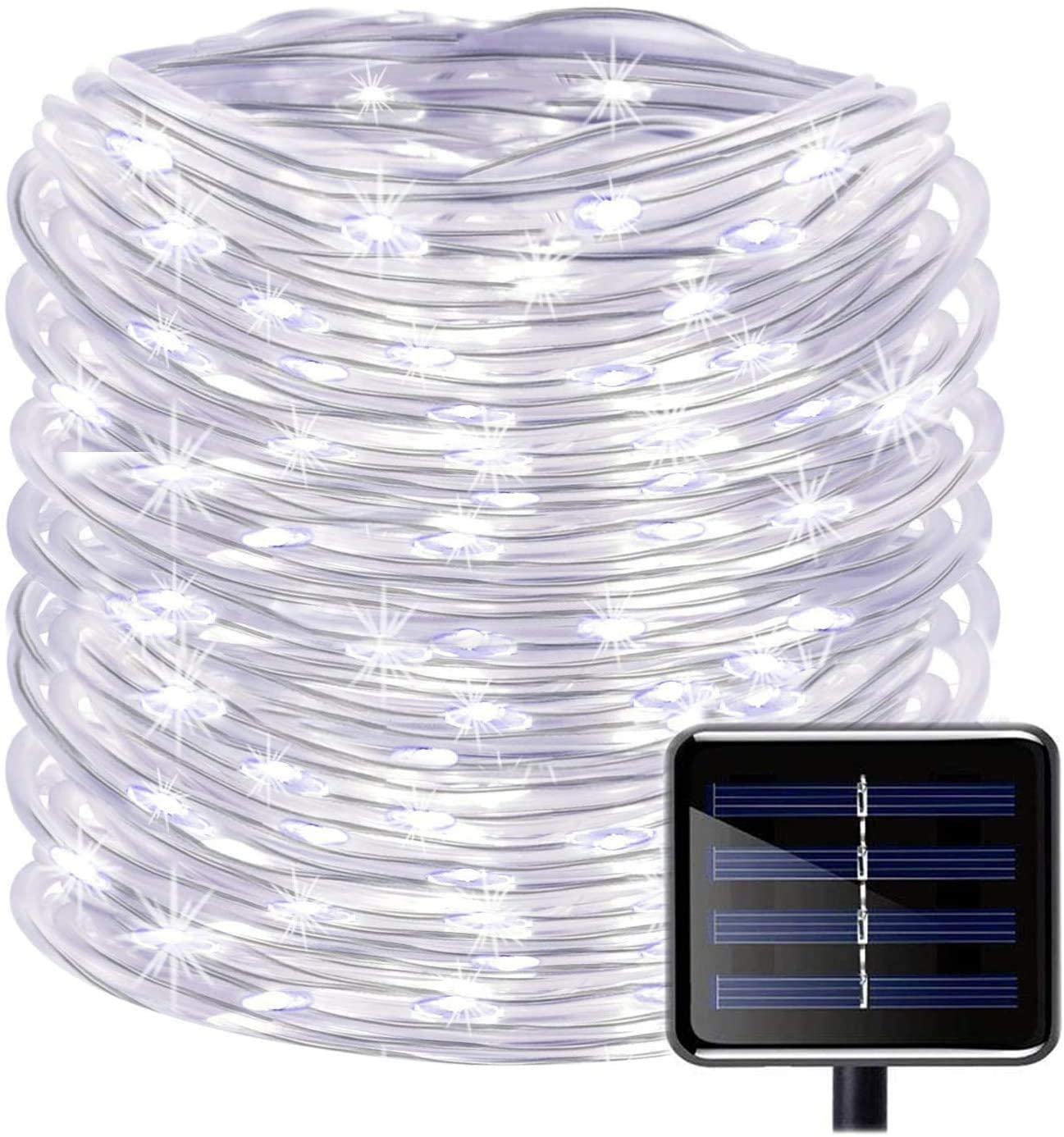 SUNSEATON Solar Rope Lights,100 LEDs 33ft/10M Waterproof Solar String Copper Wire Light,Outdoor Rope Lights for Garden Yard Path Fence Tree Wedding Party Decorative (White, 8 Modes)