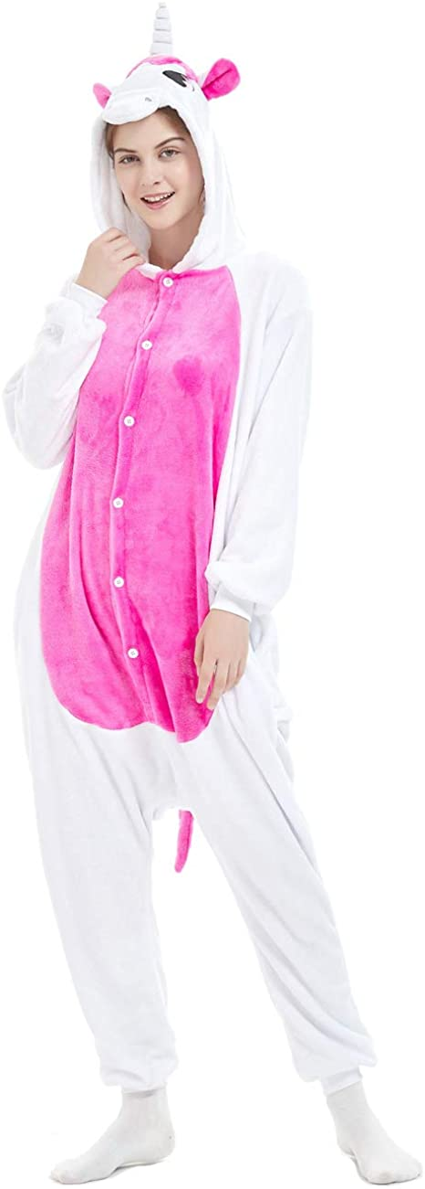 Ferand Unisex Adult Hooded Pajamas Animal Unicorn Cosplay Costume