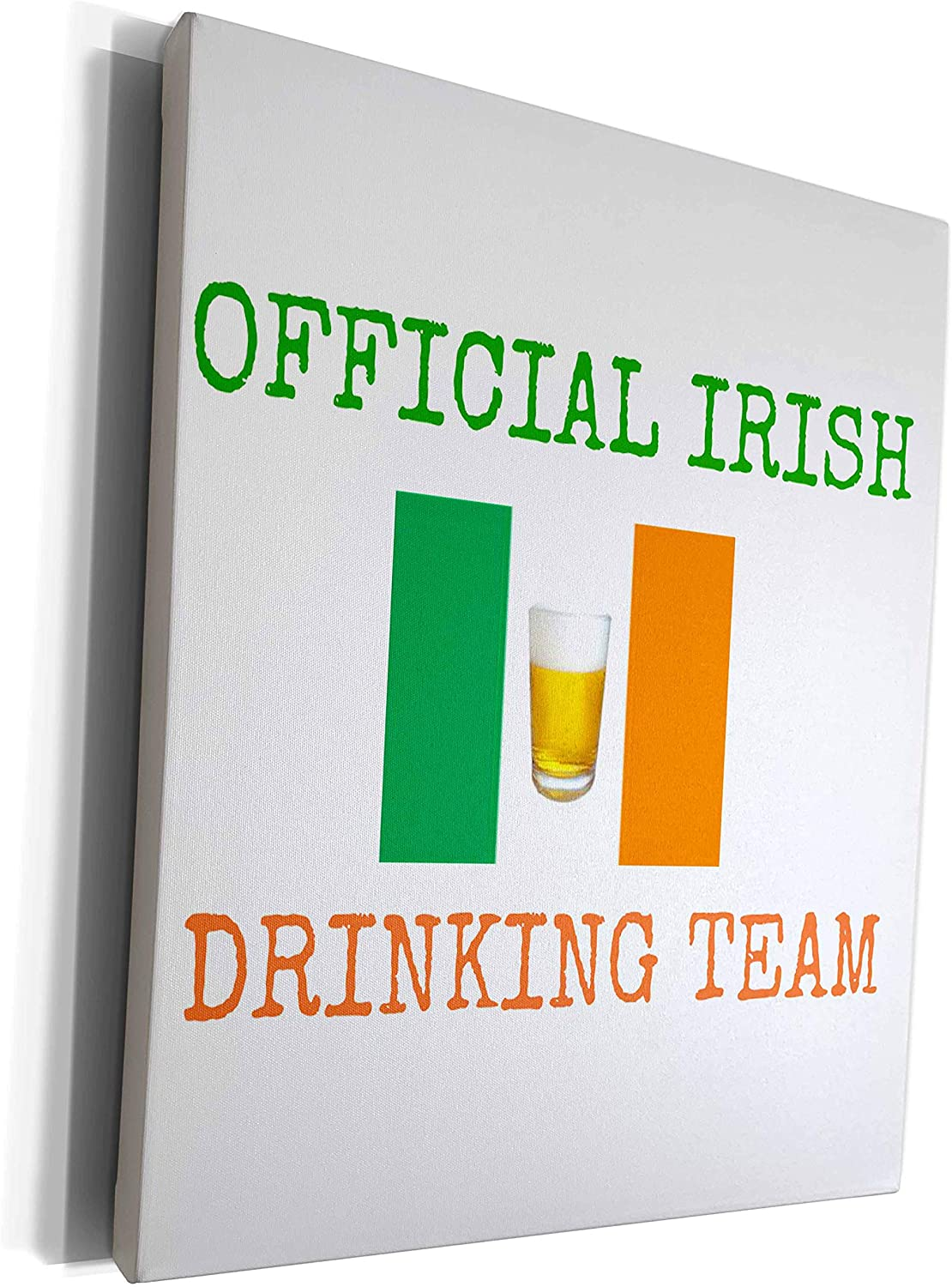 3dRose Xander holiday sayings - official Irish drinking team, green letters with Ireland flag and beer - Museum Grade Canvas Wrap (cw_180054_1)
