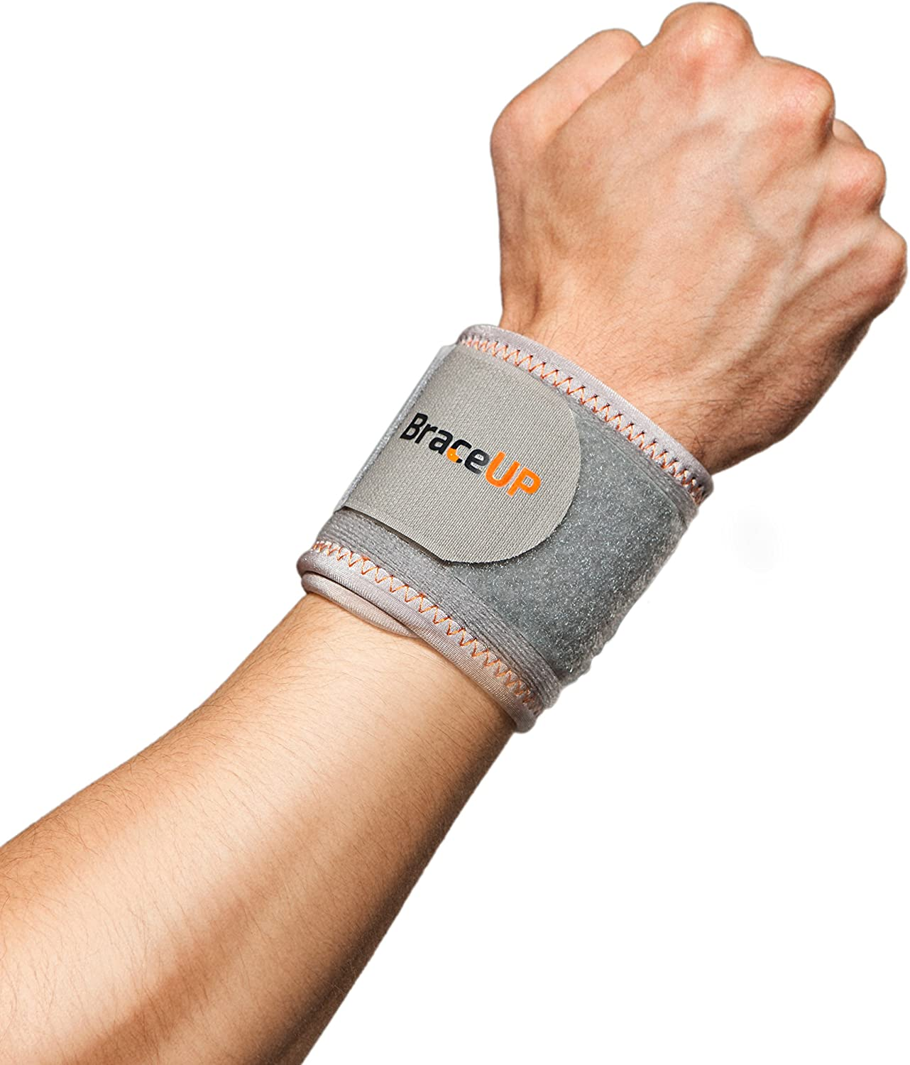 BraceUP® Wrist Compression Strap and Support, One Size Adjustable (Silver), 1 PC