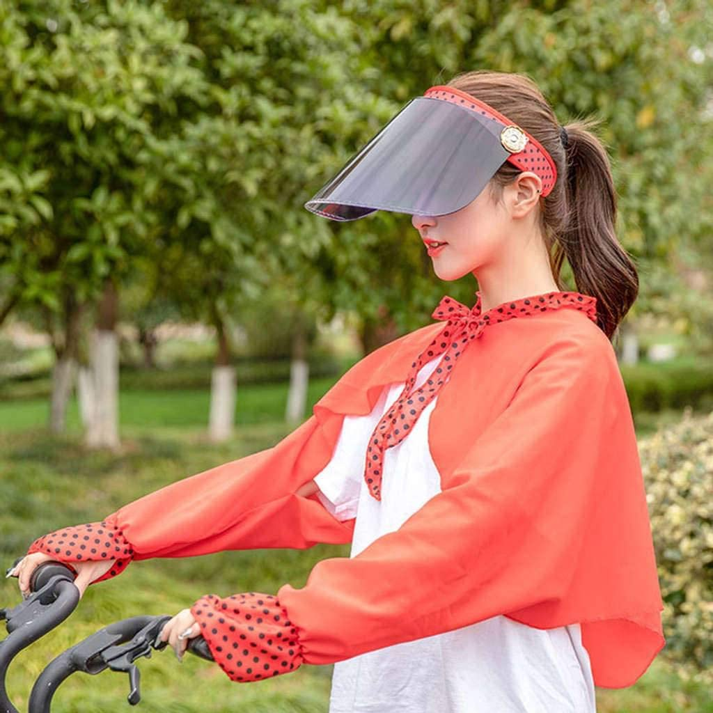 Nonebrand Visors Two-Piece Set,Woman Sun Protection Outdoor Cycling Sun Travel Shawl Empty Roof Hat