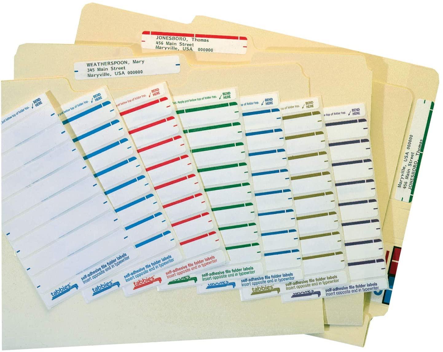 Tabbies Writable 1-Up File Folder Name Labels, White, 3-7/16