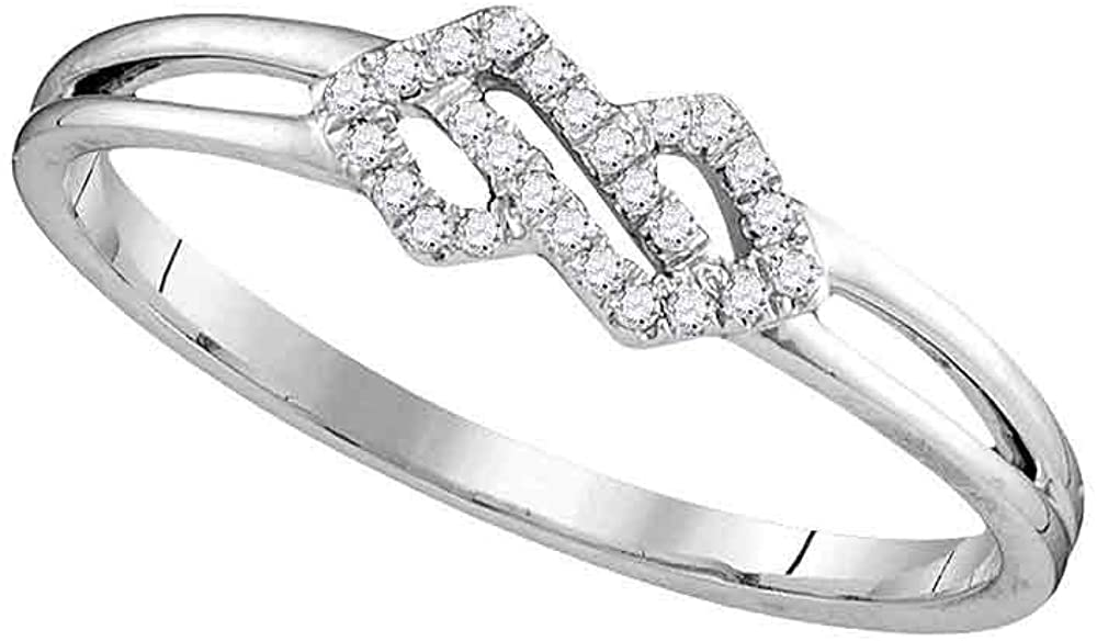 Dazzlingrock Collection 10kt White Gold Womens Round Diamond Cluster Ring 1/12 ctw