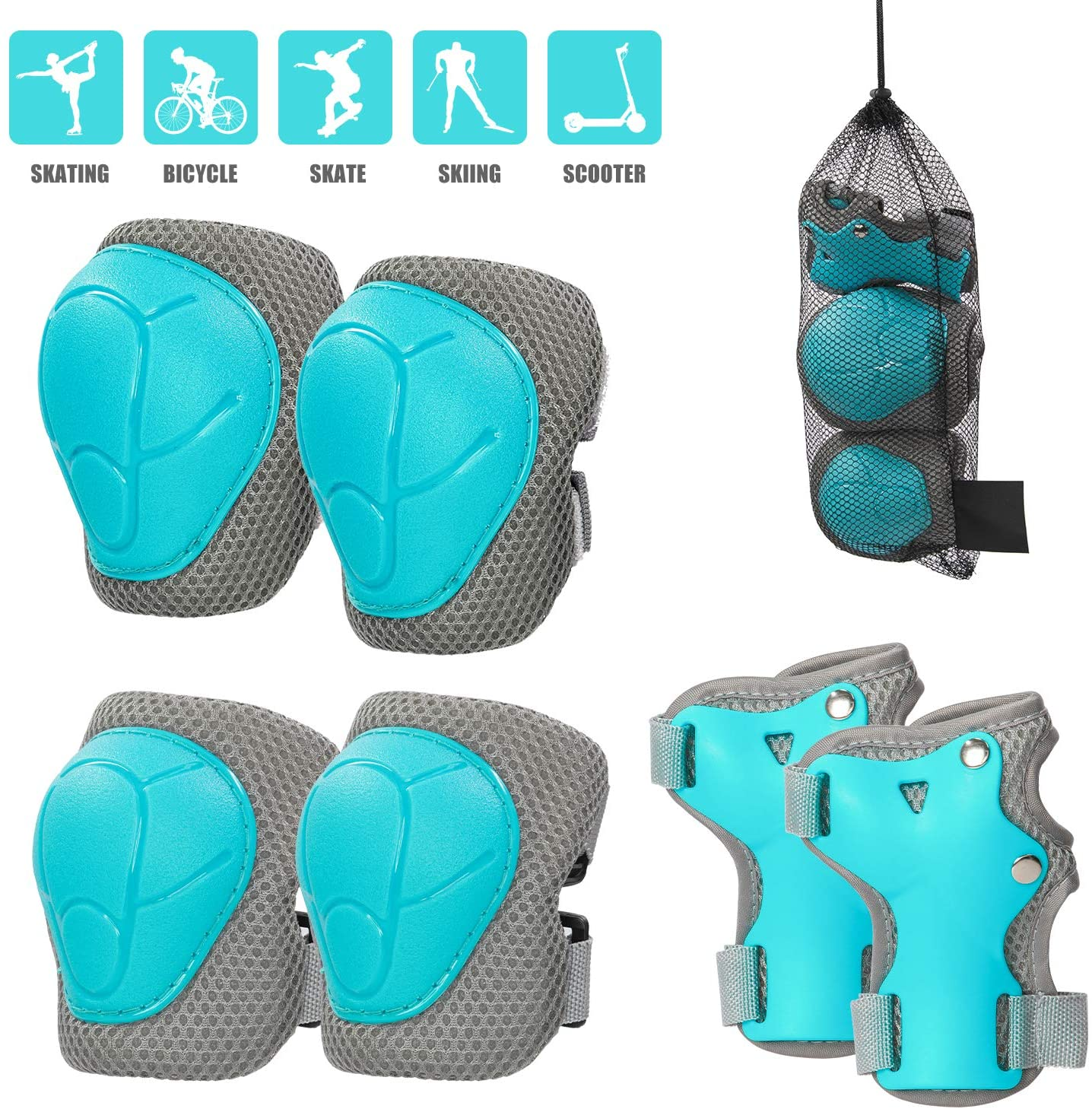 LANOVAGEAR Knee Elbow Wrist Pads for Kids 3-8 Years Adjustable Toddler to Youth Protective Gear Set for Bike Skateboarding Scooter Riding Skating and More