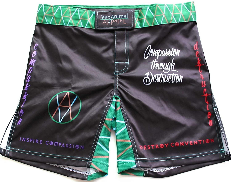 VeganAnimal Apparel MMA Shorts/Vegan MMA and Grappling Shorts/Polyester/Spandex Blend.