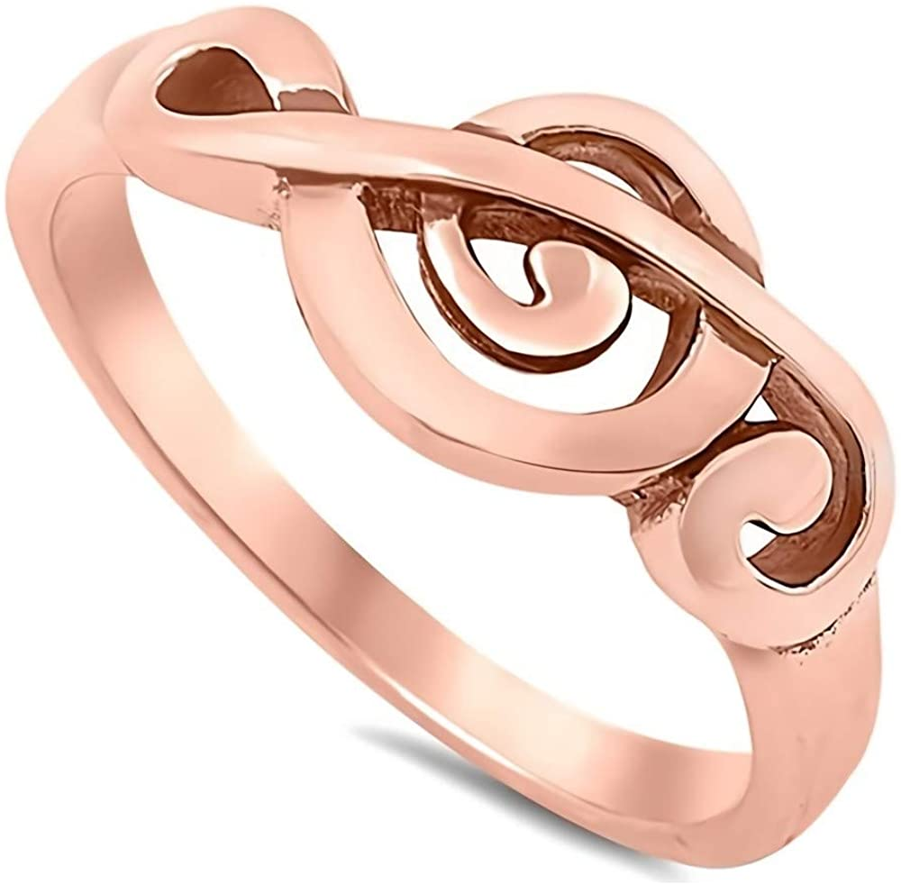 Glitzs Jewels 925 Sterling Silver Ring (Music Note, Rose Gold Tone) | Cute Jewelry Gift for Women in Gift Box