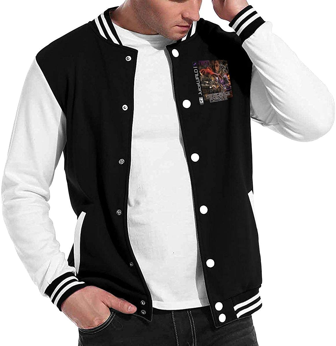 NOT Juice WRLD Mens Fashion Sweatshirt Comfortable Baseball Uniform Black
