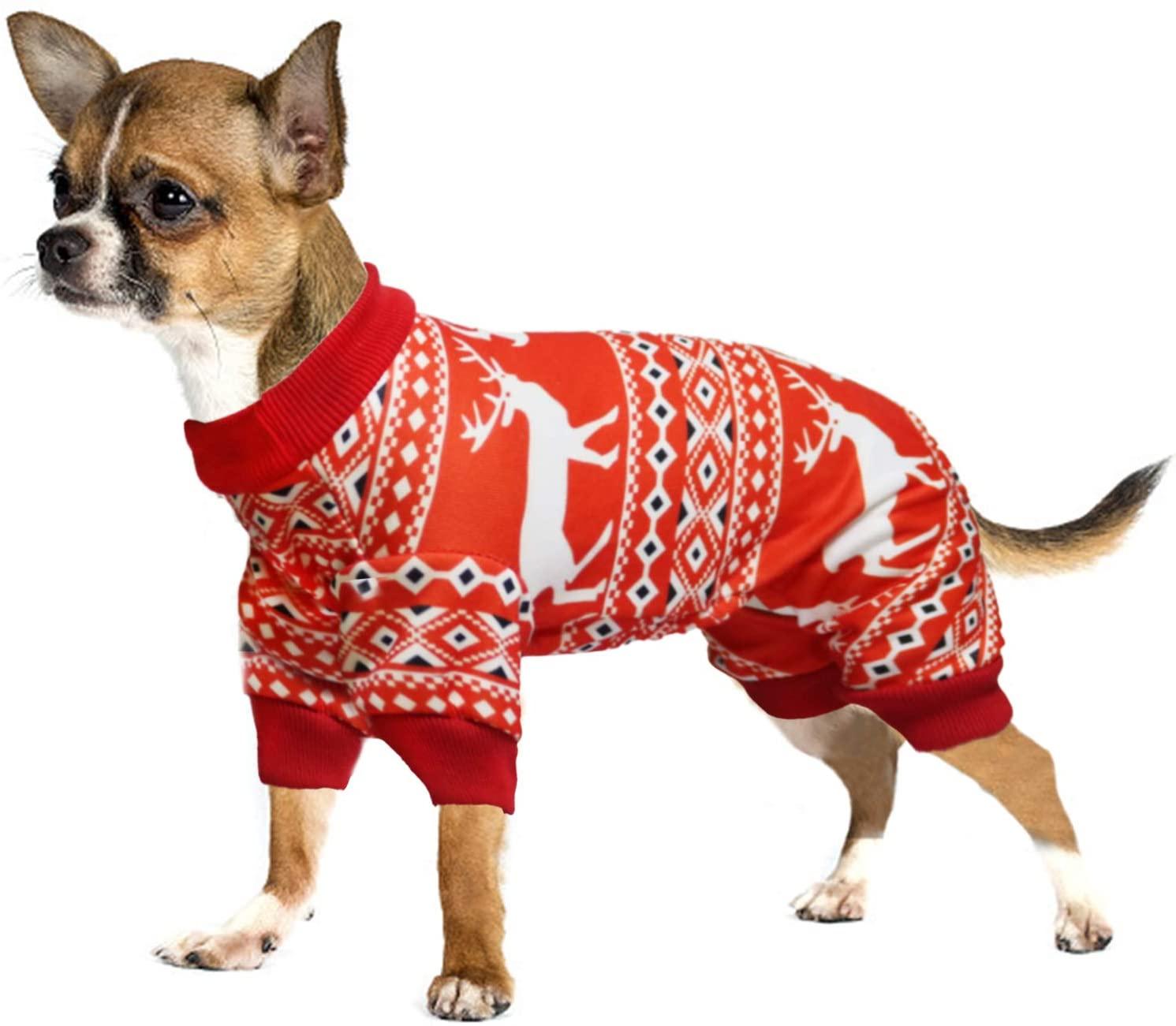 BWOGUE Christmas Elk Dog Pajamas Pet Clothes Jumpsuit Apparel Xmas Cat Costumes Onesies Soft Christmas PJS Santa Reindeer