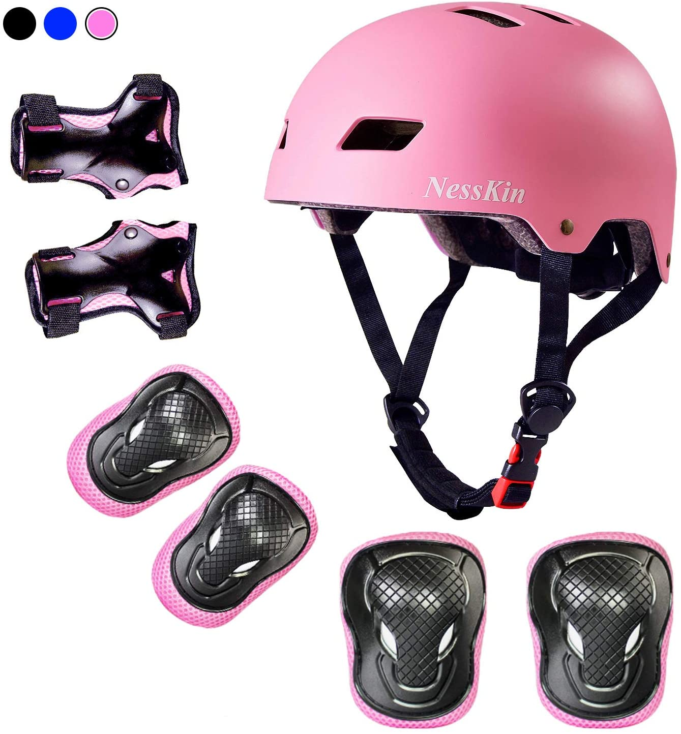 NESSKIN Kids Skateboard Protective Gear Set ,Adjustable Helmet Knee Pads Elbow Pads Wrist Guards Suitable for Ages 3-8 Years Boys Girls for Bike Scooter Roller Skating