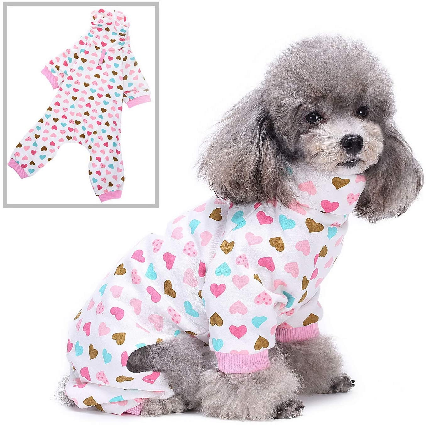 SELMAI Dog Pajamas Cat Pjs Sleepwear Breathable Soft Cotton Elastic Cat Apparel Pet Costume High Cowl Neck Heart Rompers for Small Puppy Girls Shirts Doggies Jumpsuit Easy on Spring Autumn Clothes