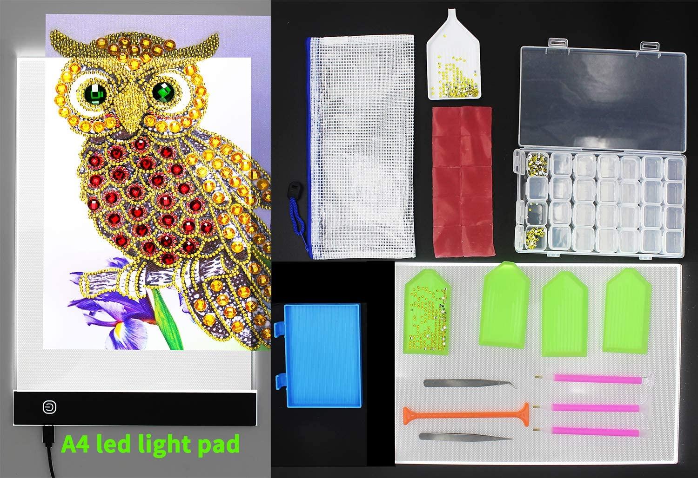 A4 Ultra Thin Dimmable USB Led Lights Pad Adjustable Brightness 5d Diamonds Paintings Lightpad Portable Lightbox Board for Full Drill Rhinestone Diamond Art Dots Paint Light Boxes Pads with Kits