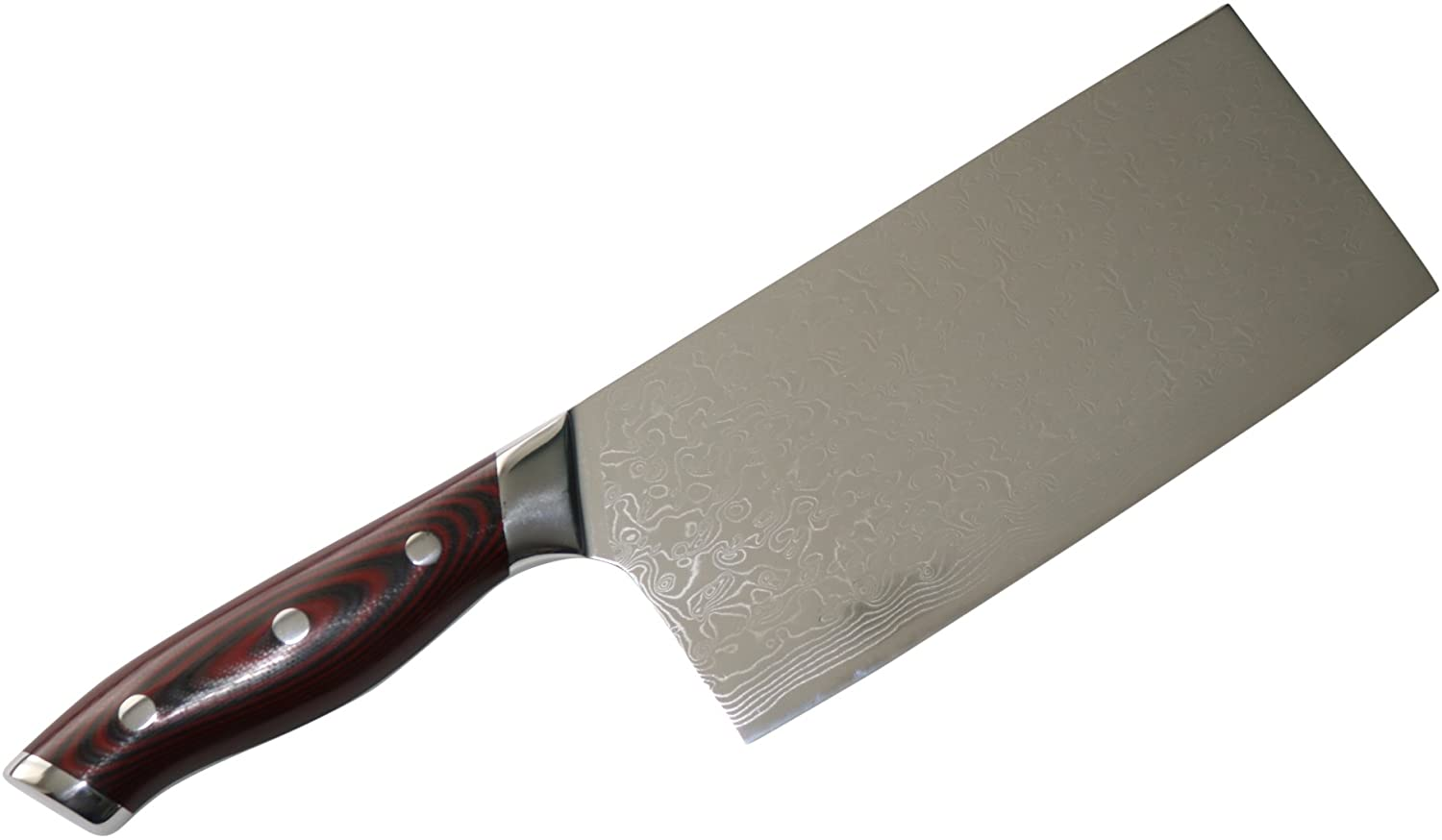 7-inch Professional (80 mm width) Damascus Chopper Knife by Kamosoto with High Carbon Japanese 67 Layers VG-10 Damascus Stainless Steel, G10 Handle and Beautiful Tiny Wave Blade Pattern, KAM582