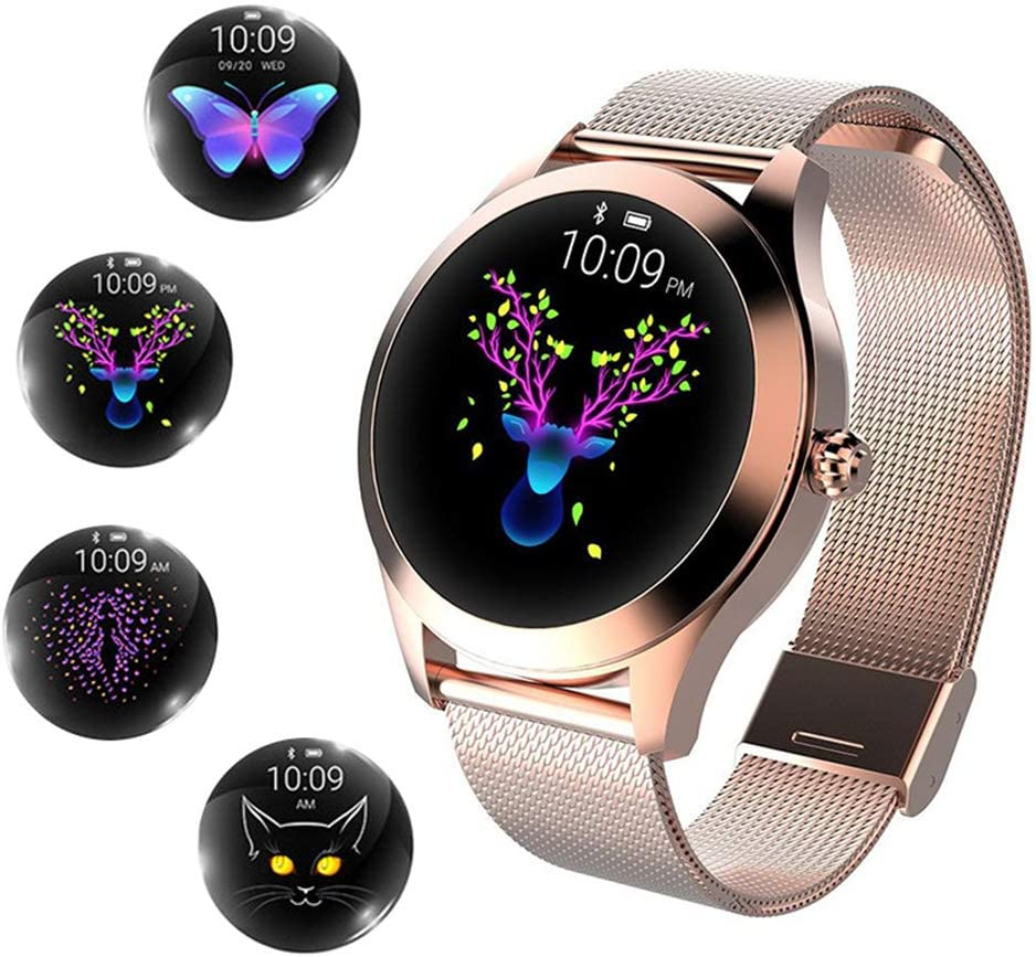 Ladies Fashion Smart Watch Multifunctional Sports Watch Heart Rate and Sleep Monitoring Pedometer Sports Mileage Record Ip68 Waterproof,Gold
