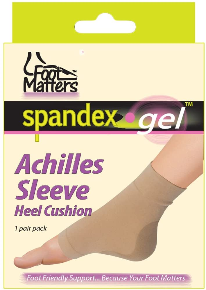 FootMatters Achilles Heel Sleeve Spandex Gel Cushions Medium - Women 5-7 Men 6-8
