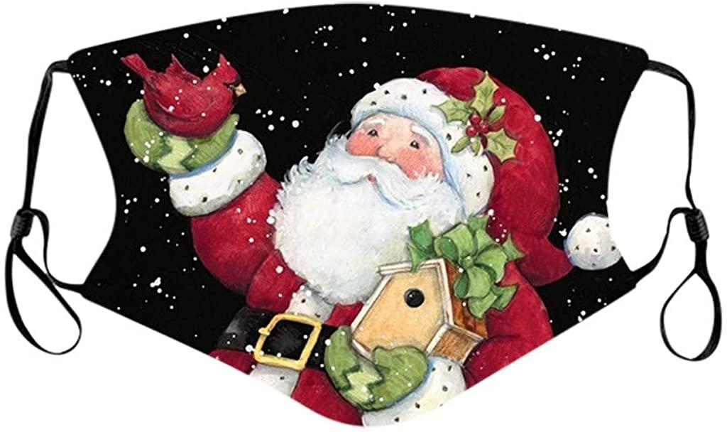 HDGTSA Unisex Face Bandanas Christmas Washable Reusable Face Protection Breathable Cloth Covering Facewear