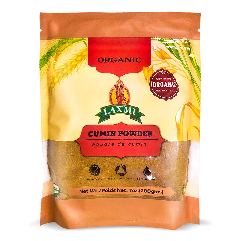 Laxmi Organic Cumin Powder, All Natural Dried Cumin Powder, Jerra Powder, Freshly Ground Seeds, Great for Curry or Chili, Fertilizer and Pesticide Free, USDA Organic, Product of India (7oz)