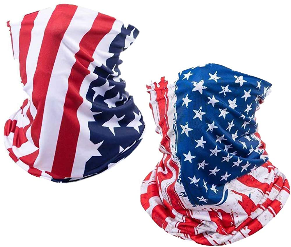 2 Pack US Flag Face Bandana Neck Gaiter, Sun UV Dust Protection Reusable Half Mask Scarf Motorcycle Balaclava for Men Women