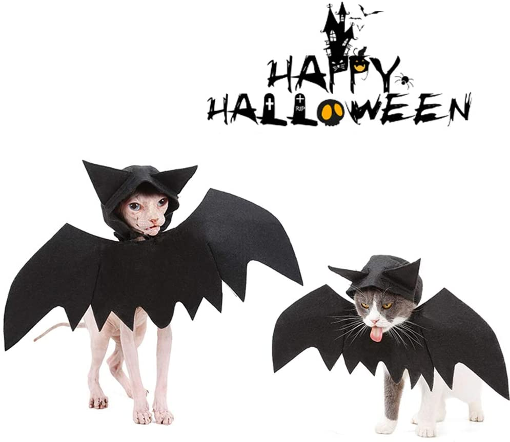 Delifur Cat Bat Wings for Halloween Black Cat Bat Wings with Hat Cosplay Halloween Party Decoration for Puppy Dog Cat